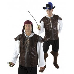 Déguisement Tunique Pirate Adulte Lacets Cuir - Costume Pirate Adulte The Duck