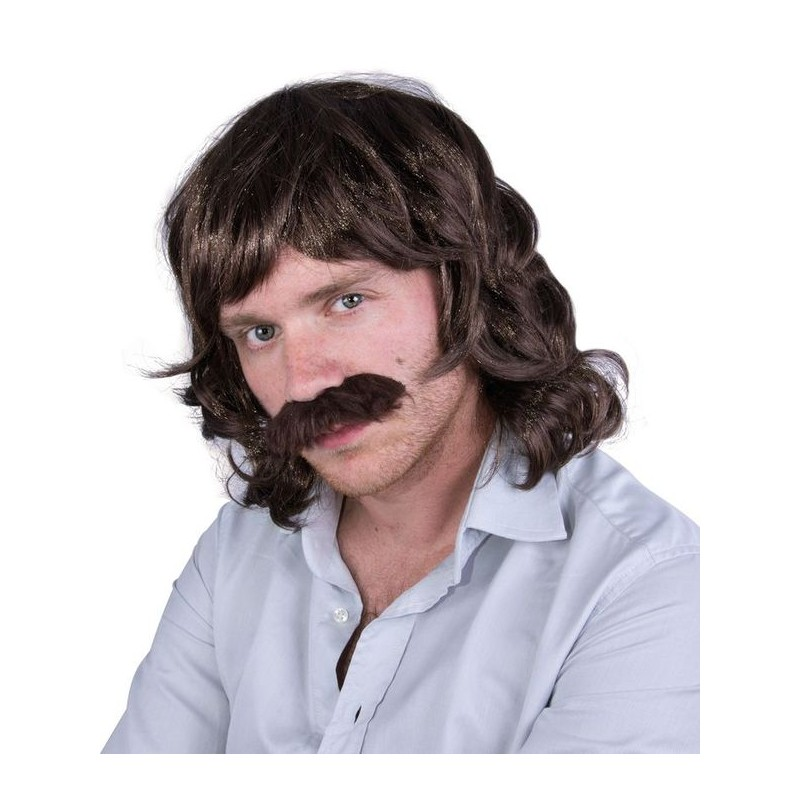 Perruque et moustache noir ann e 80 homme john perruques d guisement sur the - Deguisement annee 80 homme ...