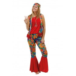 Déguisement Hippie Disco rouge Femme - Costume hippie - Déguisement hippie The Duck
