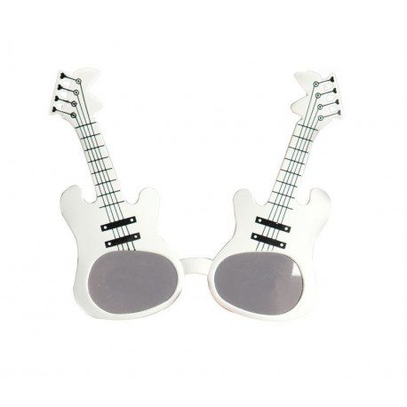 Lunettes Guitares Rock Blanc Adulte - Déguisement Rock Adulte - Costume Rock Adulte The Duck