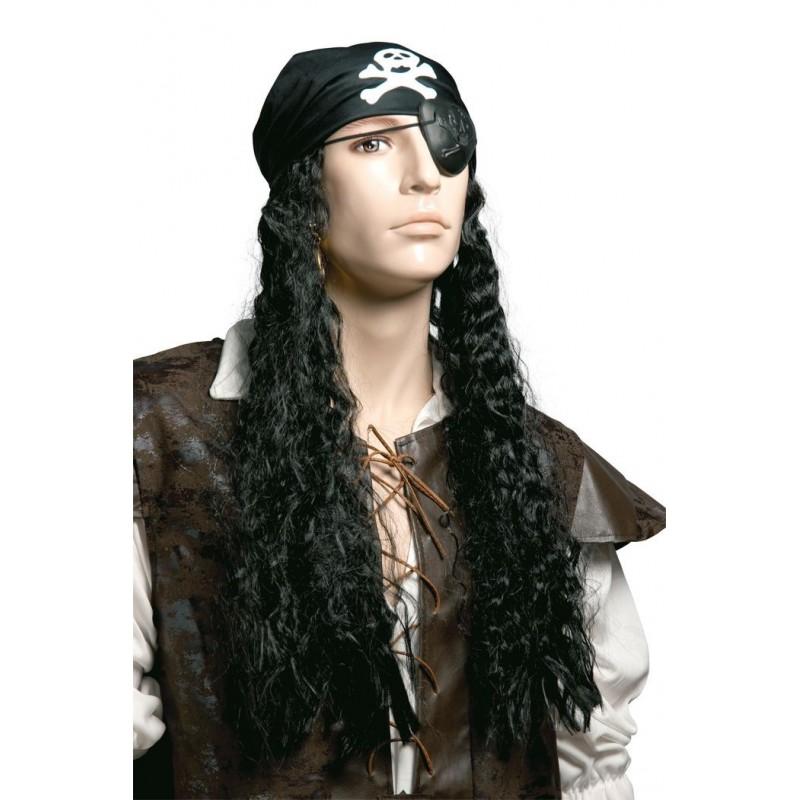 perruque de pirate noir avec bandana t te de mort homme perruques d guisement sur the. Black Bedroom Furniture Sets. Home Design Ideas