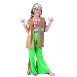 Déguisement Hippie vert marron Fille - Costume hippie fille - Déguisement hippie fille The Duck
