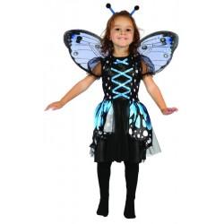 Ce déguisement de papillon noir et bleu pour fille comprend une robe, une coiffe et une paire d'ailes (collants non inclus).
