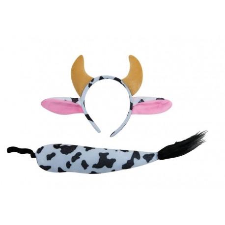 Set de Vache noir & blanc Adulte : Serre-Tête & Queue - Déguisement animaux The Duck