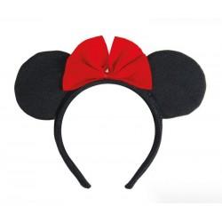 Serre-Tête de Souris noir avec noeud rouge Adulte
