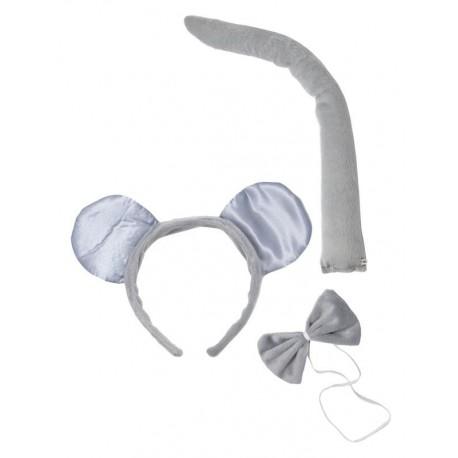 Kit de Souris grise Adulte : Serre-Tête, Queue & Noeud papillon - Costume animaux - Déguisement animaux The Duck
