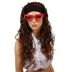 Perruque de Star frisée marron femme avec bandeau NOEMIE