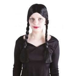 Perruque à tresses noires Femme MERCREDI