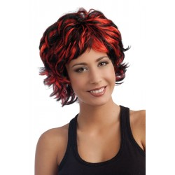 Perruque cheveux courts rouge & noir femme SARAH