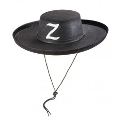 Chapeau de Zorro Adulte feutre noir - Déguisement Zorro Adulte Film The Duck