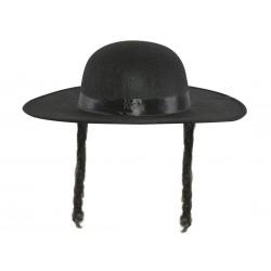 Chapeau de Rabbi Jacob Adulte avec papillotes feutre noir