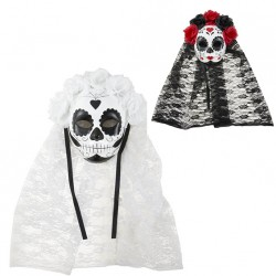 Masque Day of the Dead Adulte avec voile