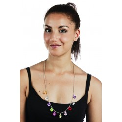 Collier de Hippie Multicolore symboles Peace & Love - Déguisement Hippie Femme  Année 60 The Duck
