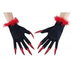Gants De Sorcière Rouge et Noir Adulte avec ongles rouges