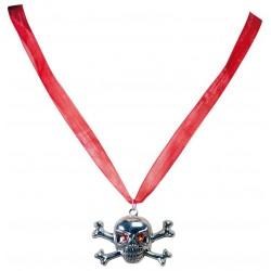 Collier Tête de mort Pirate Argent - déguisement pirate carnaval the duck