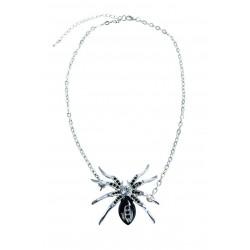 Collier Araignée en métal avec pierres noires - Déguisement sorcière femme halloween the duck