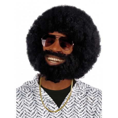 Déguisement Perruque Afro Barbe Noir Homme - Costume Perruque The Duck
