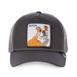 LaCasquette Butch Grise GOORIN BROSest réglable et brodée d'un patch représentant un chien. Ce modèle à la fois simple et original de casquette à la mode, est fait pour vous !