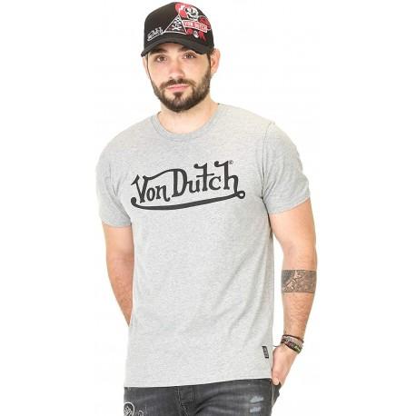 T-Shirt Gris Chiné Logo Von Dutch - T-shirt Von Dutch sport The Duck