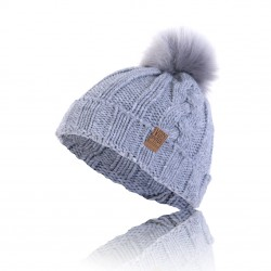 Bonnet Bleu Gris à Pompom Von Dutch - Bonnet von dutch femme the Duck