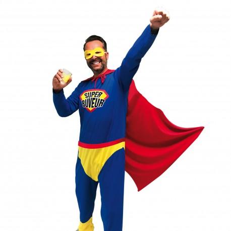 Costume de Super Buveur Bleu Adulte - Déguisement Super Héros Adulte The Duck