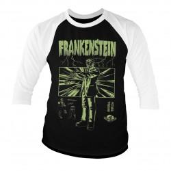 T-Shirt Manches 3/4 Noir et Blanc Frankenstein Adulte Universal Monsters