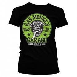 T-Shirt Noir Femme Logo Singe Garage Gas Monkey