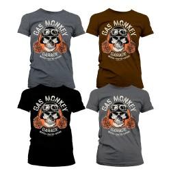 T-Shirt Femme Tête de Mort Motard Garage