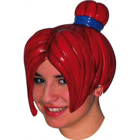 Déguisement Perruque Latex Chignon Manga Rouge Adulte - Costume Perruque The Duck