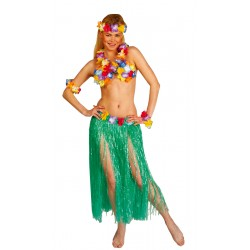 Déguisement Set Hawai Rouge Jaune Vert Femme - Costume Hawai Femme The Duck
