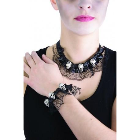 Déguisement Bijoux Collier Bracelet Têtes de Mort - Costume Bijoux The Duck