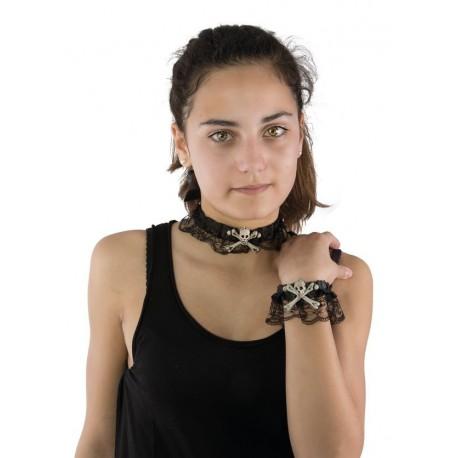 Déguisement Bijoux Collier Bracelet Têtes de Mort Os Dentelle - Costume Bijoux The Duck