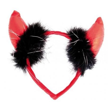 Déguisement Serre-tête Diable Rouge Plumes Noires Adulte - Costume Serre Tête Adulte