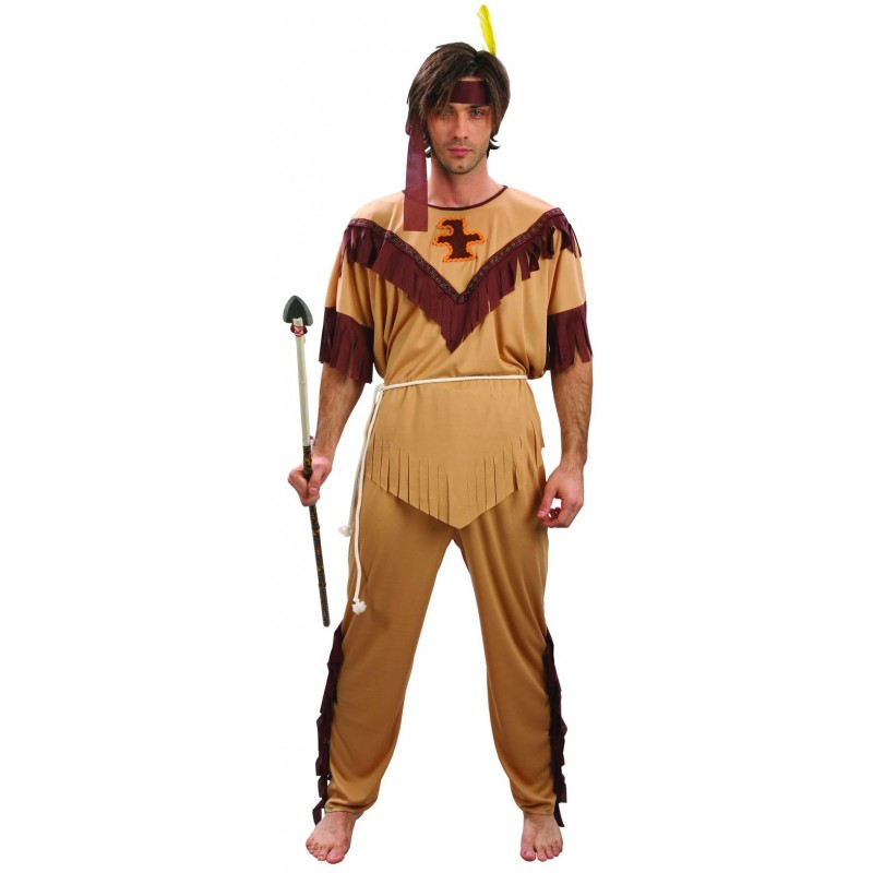 D guisement d 39 indien marron beige homme huron costumes d 39 indiens sur the - Deguisement western homme ...