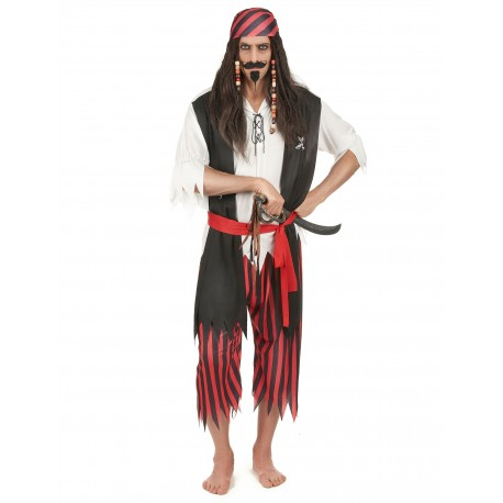 Déguisement Pirate Homme Rouge Noir - Costume Pirate Homme The Duck