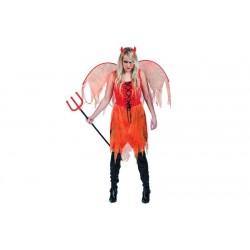 Cecostumedediable démon rougepourfemmeest composé d'une robe, d'une paire d'ailes et de corne (bottes et trident non inclus).