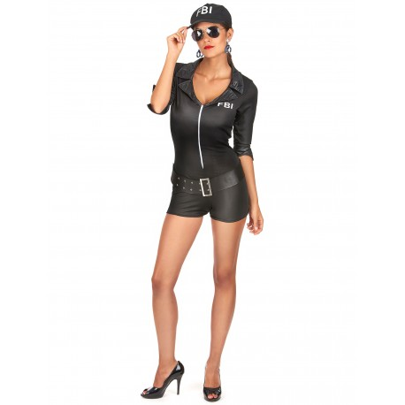 Déguisement Policier FBI Noir Femme Sexy - Costume Policière Femme Sexy The Duck