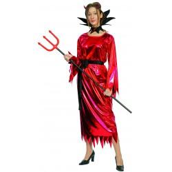 Cecostumedediable rougepourfemmeest composé d'une robe, d'une ceinture et d'un col (chaussures, cornes et trident non inclus).