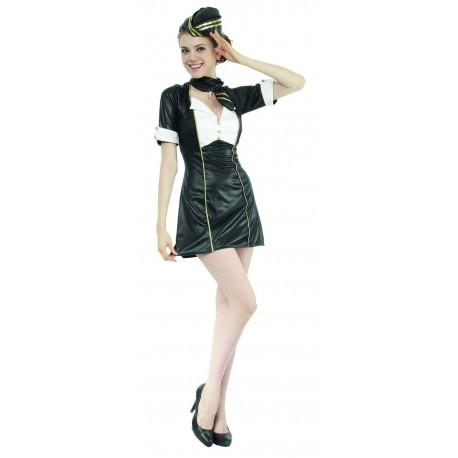 Déguisement Hôtesse de l'Air Femme Noir - Costume Hôtesse de l'air Femme Sexy The Duck