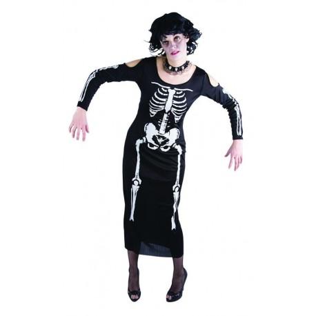 Déguisement Squelette Noir Femme - Costume Fantôme Squelette The Duck