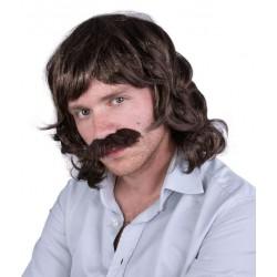 Perruque et Moustache Noir Année 80 Homme JOHN