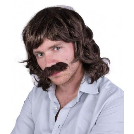 Perruque Homme Moustache Noir Magnum - Déguisement 218 Homme The Duck