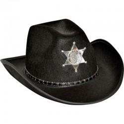 Chapeau de Cow-Boy Adulte noir SHÉRIFF