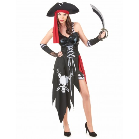 Déguisement Pirate Sexy Noir Rouge Femme - Costume Pirate The Duck