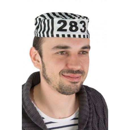 Chapeau de Prisonnier Adulte Blanc & Noir - Déguisement Prisonnier Adulte The Duck