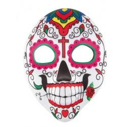 Cemasque de squelette Dia de Los Muertospourhommeest en tissu et représente le visage d'unsquelette sourianttrès coloré. Le contour des yeux est vert avec des arrondis rose, au bout de la bouche est dessiné une fleur comme si votre visage tenait une rose dans sa bouche. De nombreux petits détails sont présents sur le reste de cemasque Dia de Los Muertos.