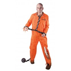 Déguisement Prisonnier Zombie Adulte Orange - Costume Prisonnier Zombie Homme Halloween The Duck