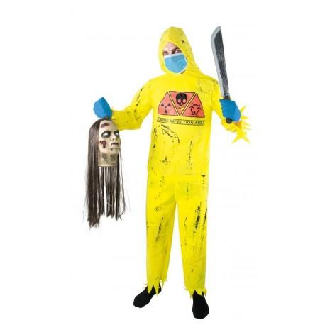 Déguisement Scientifique Chasseur Zombie Jaune Adulte - Costume Zombie Halloween The Duck