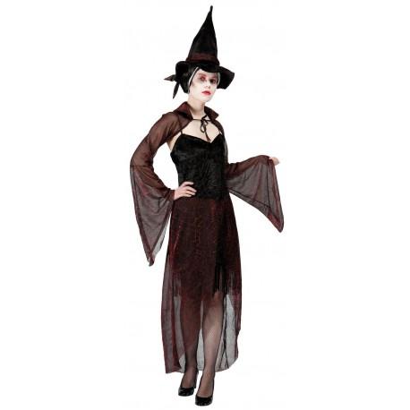 Déguisement Sorcière Adulte Noir & Rouge - Costume Sorcière Halloween The Duck