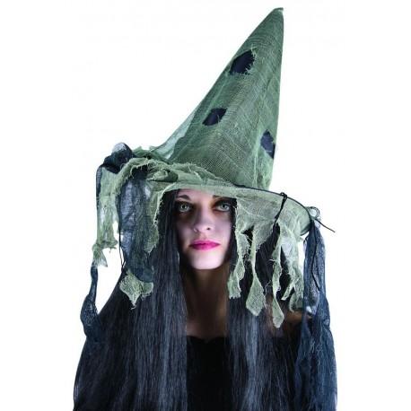 Chapeau de Sorcière Noir et Beige Femme - Déguisement Halloween - Costume Sorcière
